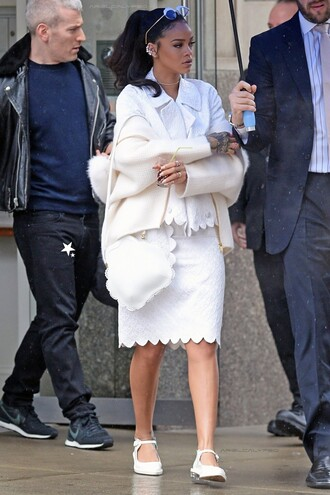 skirt top flats rihanna white all white everything jacket shoes