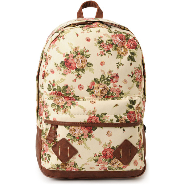 Carrot Company Floral Print Beige Canvas Backpack - Polyvore