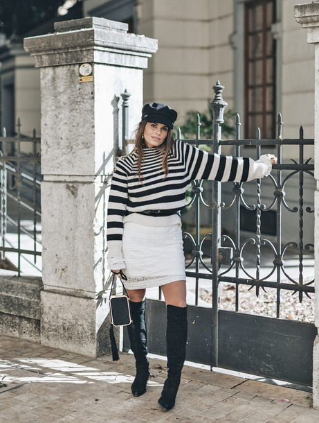 sweater tumblr knit knitwear knitted sweater stripes striped sweater skirt mini skirt white skirt boots knee high boots fisherman cap