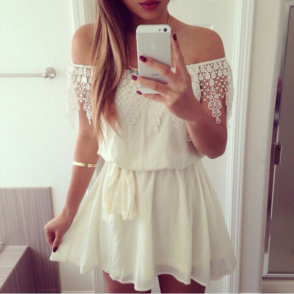 spring white dress short dress lacy cute dress spring dress spring floral dress sexy dress white lace dress glamour lacy dress tanned skin floral floral dress summer dress spaghetti straps