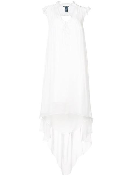 Thomas Wylde dress high ruffle women high low white silk