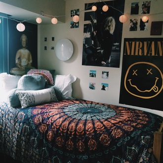 home accessory tumblr nirvana kurt cobain lights tapestry pillow bedding mandala vintage cool girly girl blue orange pink