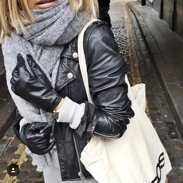 scarf heather grey leather gloves grey heather leather jacket black leather jacket black leather gloves