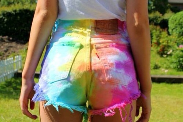 pants vans warped tour shorts jeans tie dye rainbow cut offs cute hipster trippy High waisted shorts high waisted tie dye colorful