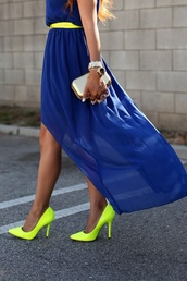 dress,shoes,neon,green,heels,bag