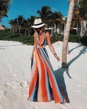 dress,maxi dress,striped dress,straw hat,sunglasses