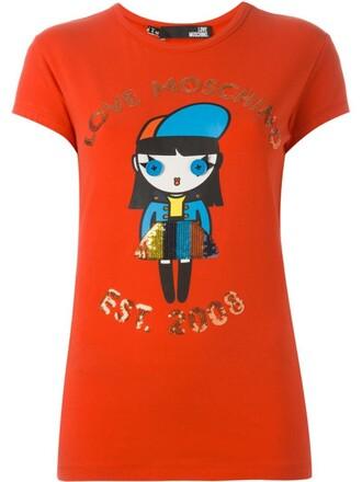 t-shirt shirt print red top