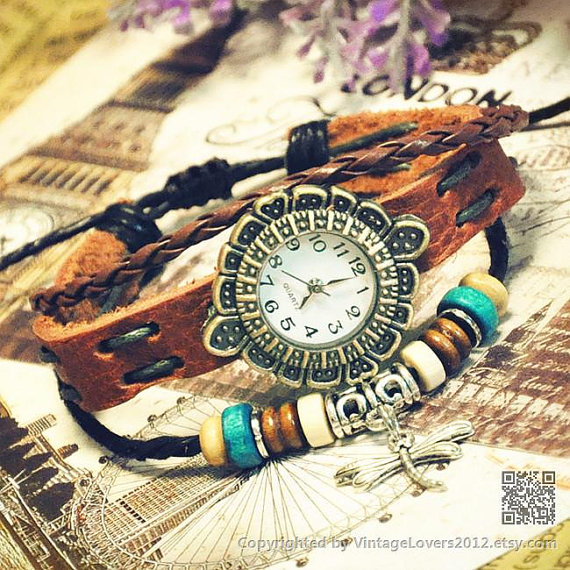 Women watches bracelet leather wrist watch by vintagelovers2012