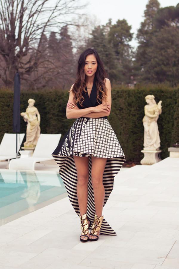 skirt high waisted skirt checkered stripes