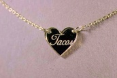jewels,tacos,necklace,tumblr,gold necklace,word necklace,heart jewelry,gold heart necklace