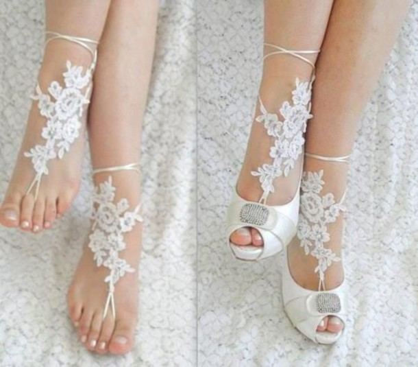 jewels lace foot feet jewelry feminine white wedding bridal