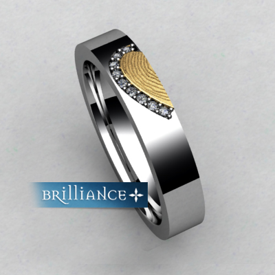 Unique custom fingerprint diamond wedding bands from brilliance