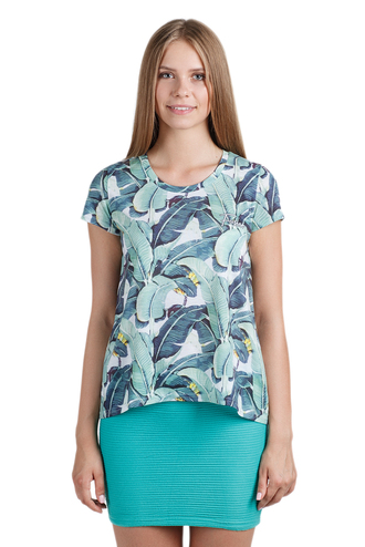 t-shirt clothes blue printed tee printed t-shirt print print tee floral leaves