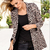 Notch Lapel Long Sleeve Leopard Sheath Coat : KissChic.com