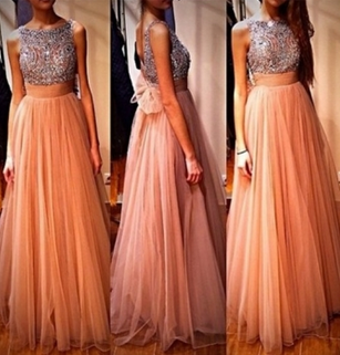 Pretty A-line beaded round neckline Long Prom Dresses