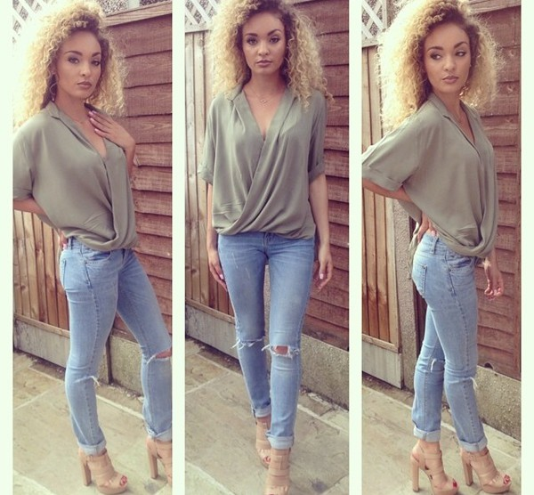 top blouse khaki zara river island green smart casual smart v neck v neck jeans