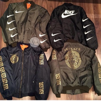 coat black coat khaki coat bomber jacket nike nike coat nike bomber jacket nike jacket style jacket versace olive green black blue nike air