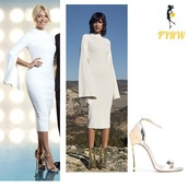 dress,solace london,gold and silver sandals,dancing on ice,holly willoughby,white dress