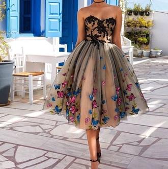 dress cream tan dress butterfly short dress sweetheart neckline poofy dress tan blue pink sweetheart dress black lace