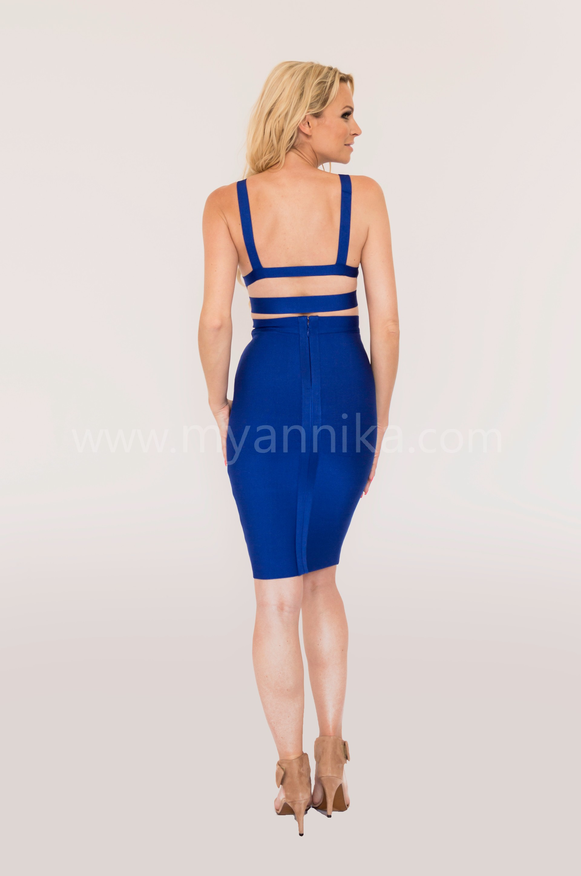 Malibu - Blue 2 Piece Bandage Dress Combo with Pencil Skirt and Crop Top Annika - Bandage Dresses | Celebrity Party Dresses | Herve Leger Dresses Bandage dress detail
