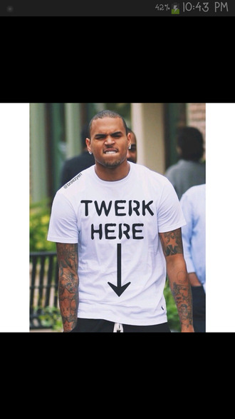 twerk chris brown white t-shirt twerk team
