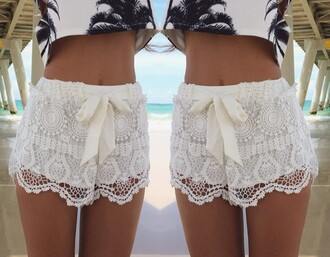 shorts white   fashion   lace   crochet   shorts shirt top palms palm pattern palm pattern