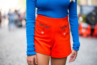 shorts tumblr orange shorts embroidered top blue top long sleeves