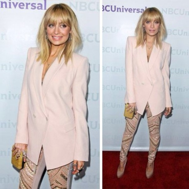 jacket pink nicole richie blazer oversized