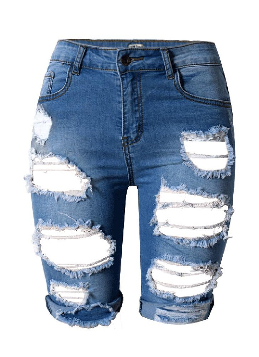Ybenlow Womens High Waist Ripped Hole Washed Distressed Short Jeans at Amazon Women's Jeans store