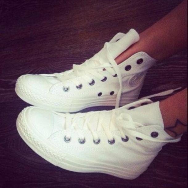 ce4212163bda88 shoes white white sneakers converse white converse high top
