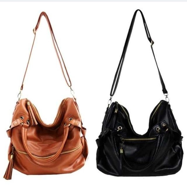 bag brown black leather handbag shoulder bag