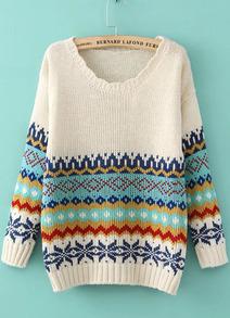 Pullover mit Vintage-Blumenmuster, aprikosenfarbe-Sheinside