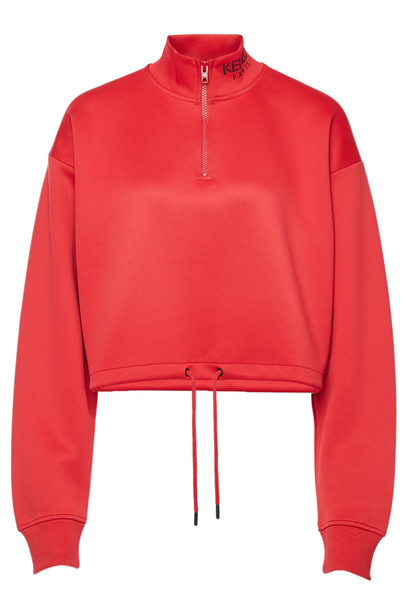 Kenzo Cropped Sweatshirt with Cotton  in red