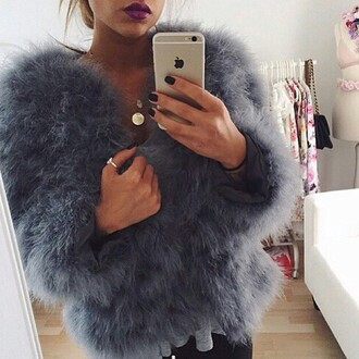 jacket coat blue coat fuzzy coat fur fur coat baby blue luxury love grey fourrure veste ostrich feathers sweater warm fluffy soft faux fur prom blue violet