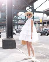 dress,hat,tumblr,asos,mini dress,ruffle,ruffle dress,sneakers,white sneakers,espadrilles,bag,sun hat,sunglasses,shoes