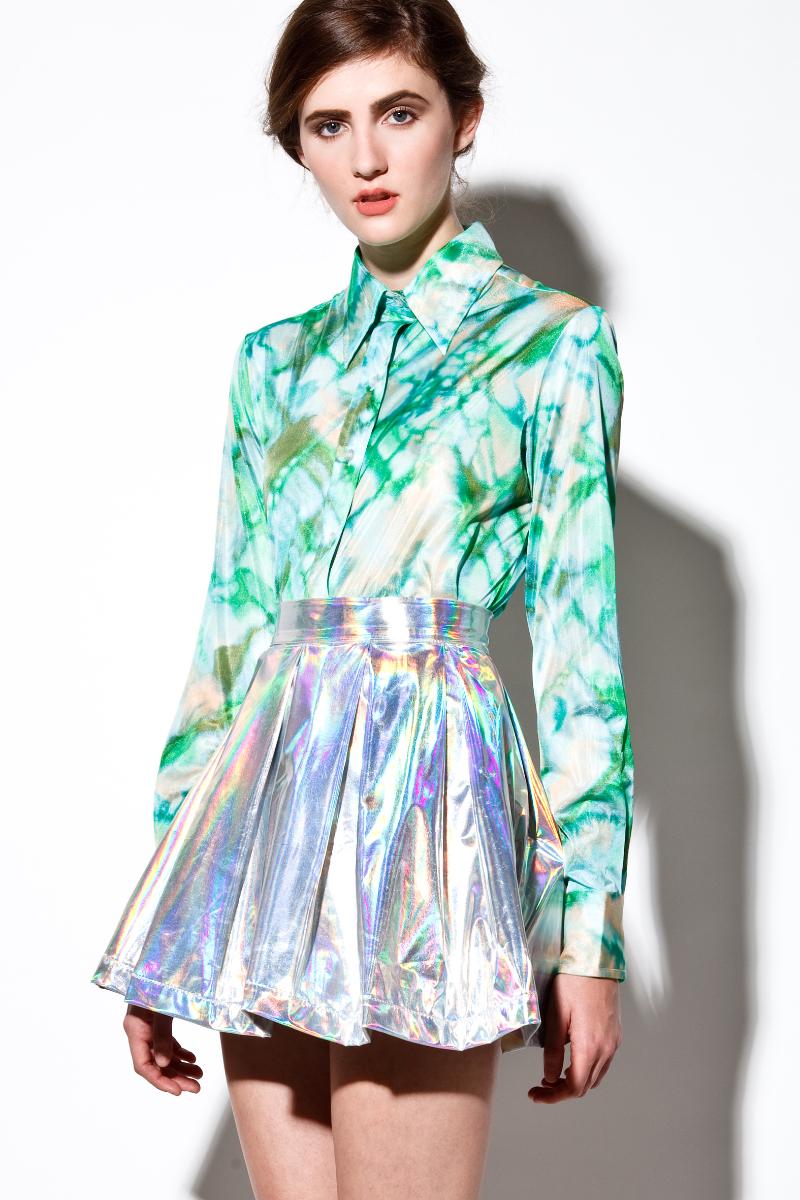 Holographic! iridescent hologram leather skater skirt