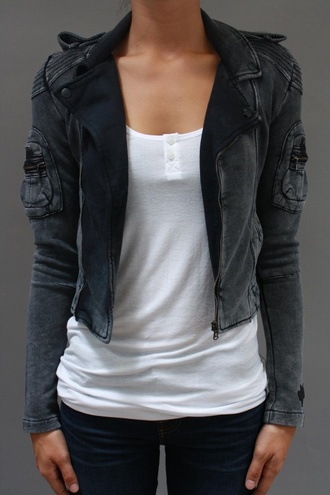 jacket black jacket grey motorcycle jacket
