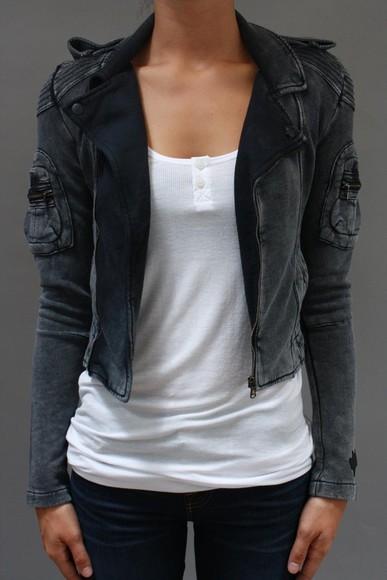 jacket motorcycle jacket grey black jacket