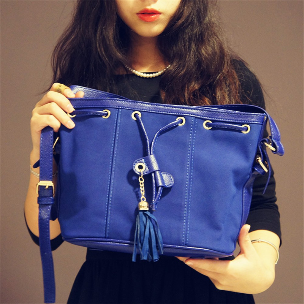 Midnight blue drawstring bucket tote bag