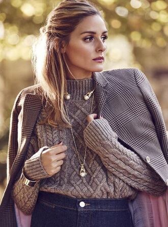 sweater olivia palermo coat fall outfits fall sweater
