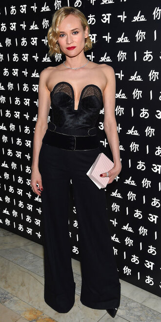 wide-leg pants diane kruger top bustier top all black everything pants