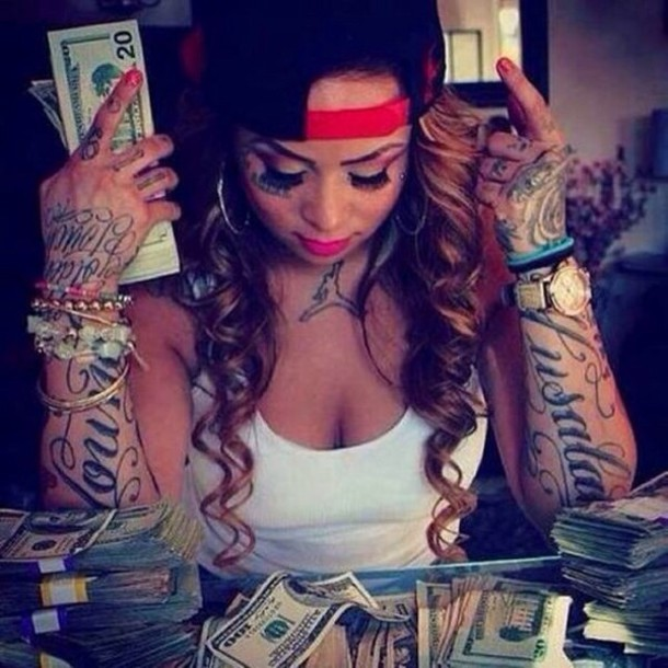 Jewels Money Red Black Tattoo Tank Top Girl Earrings Hat Snapback Air Jordan Watch Paper Lipstick Wheretoget