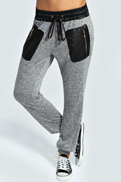 Scarlett Basic Lightweight PU Trim Joggers at boohoo.com