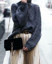 sweater,tumblr,grey sweater,turtleneck sweater,turtleneck,bag,black bag,ysl,ysl bag,skirt,gold skirt,pleated,pleated skirt,metallic pleated skirt,gucci,gucci belt,logo belt