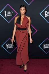 dress,shay mitchell,celebrity style,celebrity,maxi dress,gown,people's choice awards