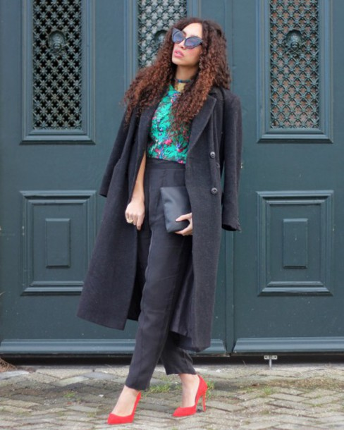 from hats to heels blogger pants cropped pants long coat charcoal cat eye