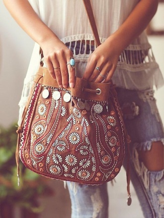 bag brown bag bohemian boho gypsy floral