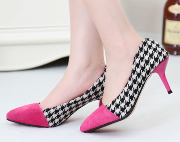 dress black shoes party fashion high heels women girls pink blue