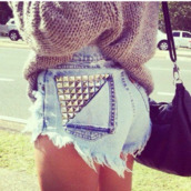 shorts,denim,studs,spikes,blue and white,cut off shorts