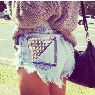 shorts denim studs spikes blue and white cut off shorts